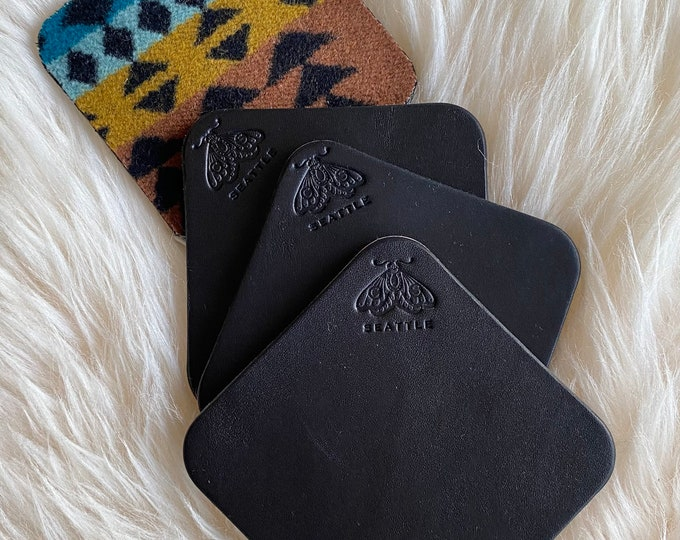 Black Leather Coaster Set of 3 - Hand stamped Wickett & Craig Leather with Pendleton wool bottom