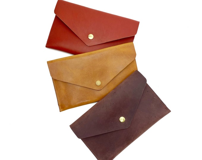 Caela leather envelope wallet clutch