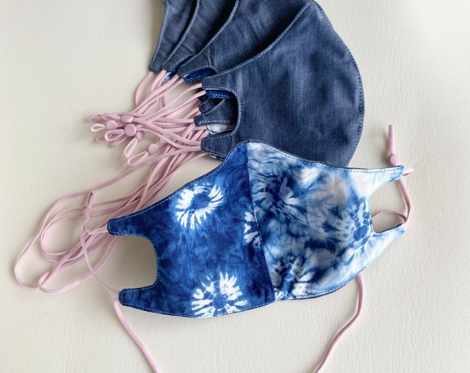 Dark Chambray Care Mask - with cotton Shibori print lining and neck loop
