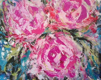 Abstract flowers painting titled pink peons 14x20 Abstract Acrylic Canvas Original Painting