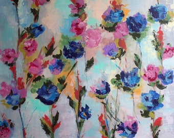 Abstract  flowers painting titled Color   24*24 Abstract Acrylic Canvas Original Painting