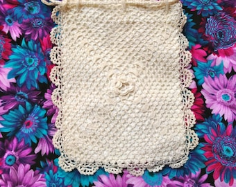 Just Reduced Vintage Lacy Drawstring Purse