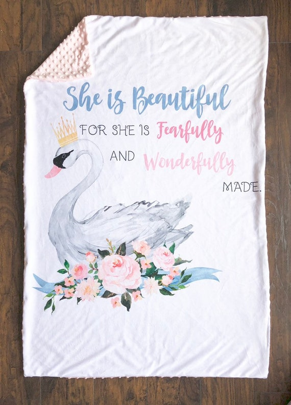 Baby Blanket Fearfully and Wonderfully Made Blanket Wonderfully Made Black Crib Blanket Minky Blanket Monochrome Baby Blanket