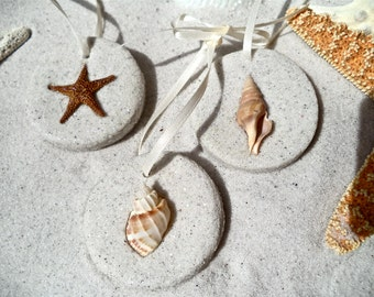Beach  Ornaments  Our popular sand ornaments with shells and starfish... like taking a walk on the beach. Set of 5