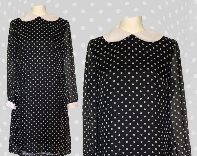 Vintage Women's Sheath Dress in a Black Georgette with White Polka Dots. Mod Baby Doll Style Classic Party Dress. Sustainable 1960s Fashion