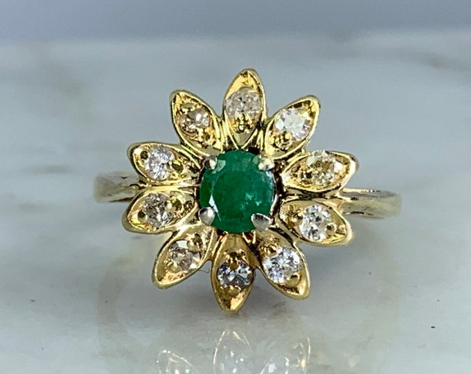 Vintage Emerald and Diamond Flower Ring in 14K Yellow Gold. May Birthstone. Unique Engagement Ring.