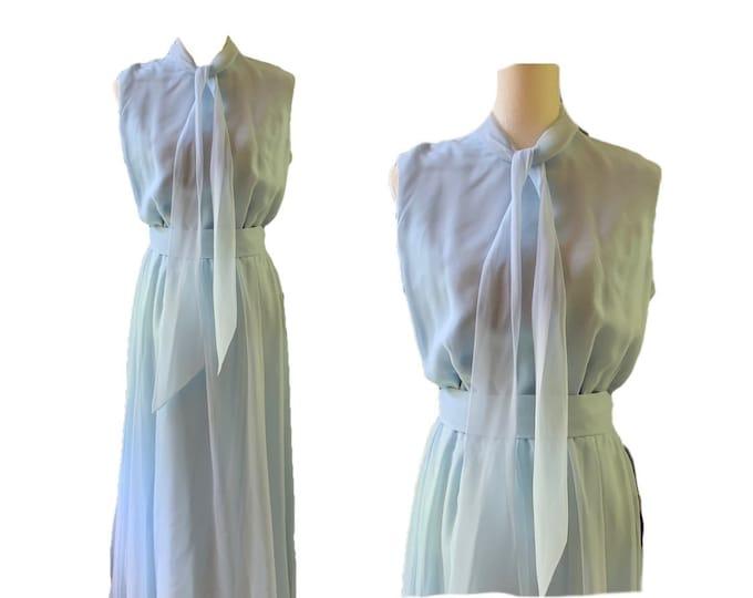 Vintage 1960s Jack Bryan Blue Chiffon Gown. Vintage Wedding or Festival Dress