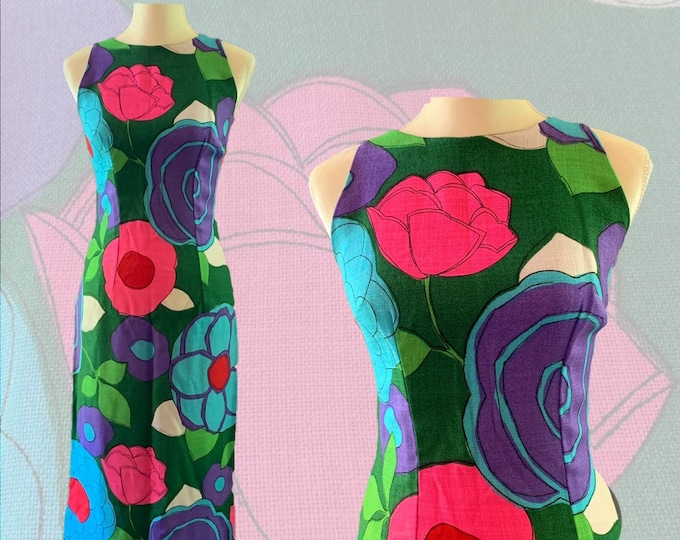 Vintage Mod Colorful Floral Dress for Saks Fifth Avenue. Green with Pink, Purple and Blue Flowers.