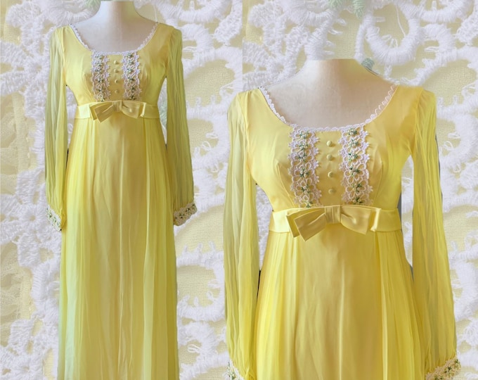 Vintage 1960s Yellow Chiffon Maxi Boho Dress with Lace Daisy Accents for Saks Fifth Avenue. Vintage Wedding or Festival Dress