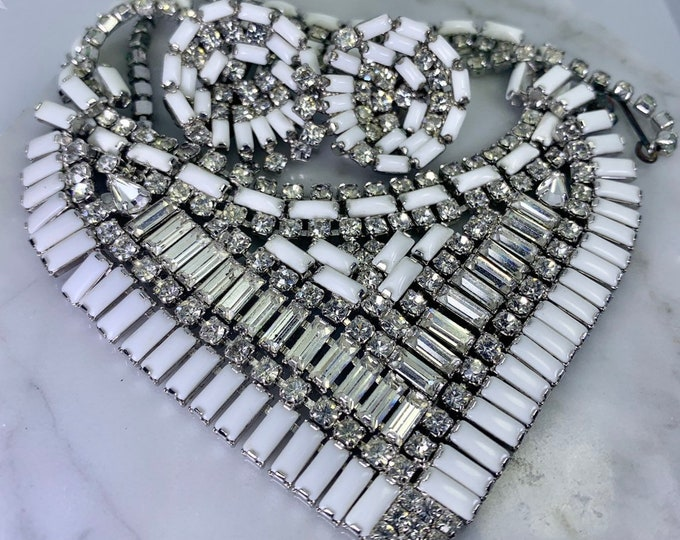 Vintage Milk Glass and Rhinestone Necklace and Earring Set by Hattie Carnegie. Perfect Wedding Day Jewelry!