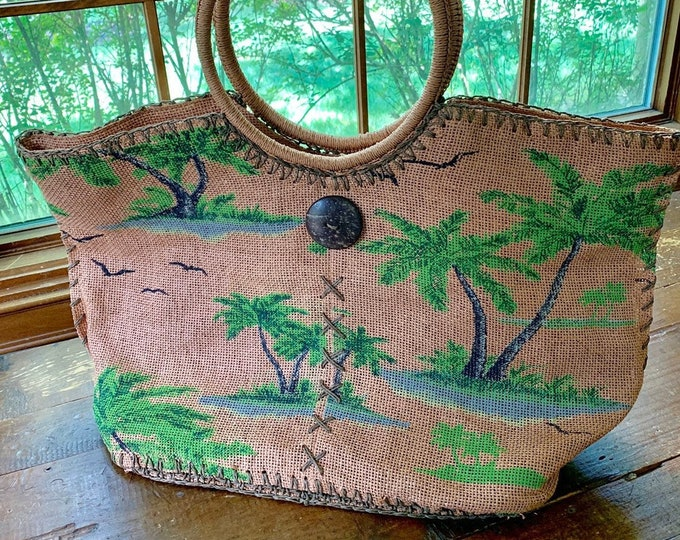 Vintage Raffia Bag or Tote with Palm Tree Pattern by Capelli. Perfect Summer Bag for the Beach or the Market.