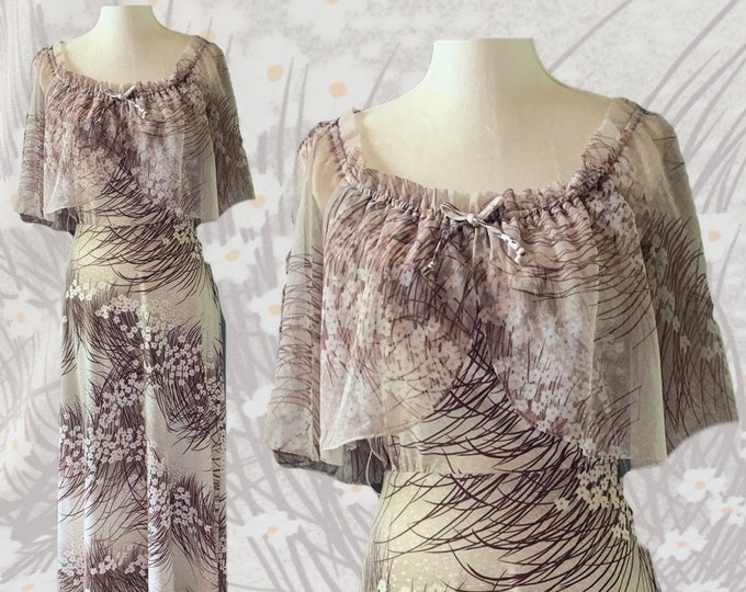 Vintage Maxi Dress with Floral Design and Chiffon Capelet. Perfect Summer to Fall Dress. Great Alternative Bridesmaid Dress.