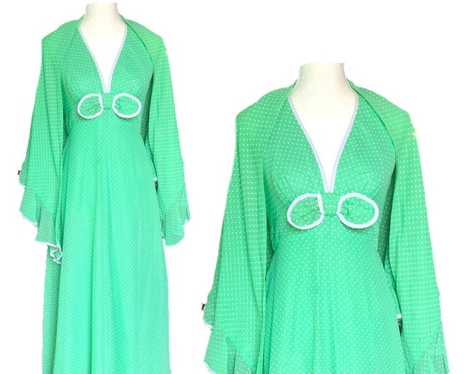 Vintage Polka Dot Sundress and Capelet by Miss Elliette. Green and White Polka Dots Halter Dress.