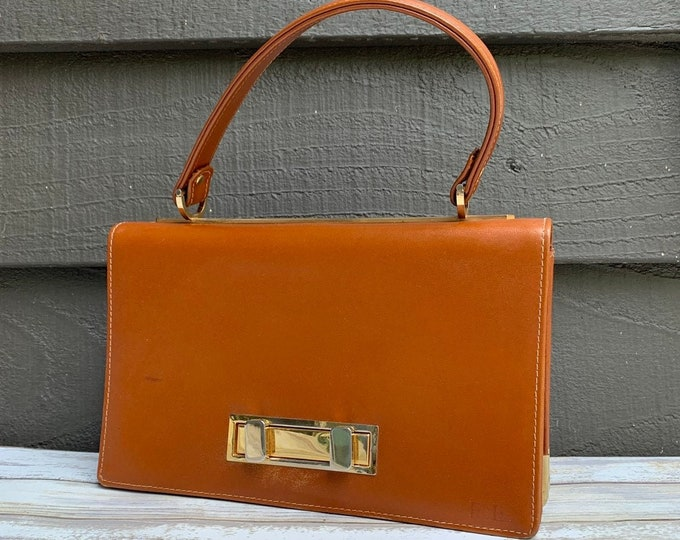 Vintage Cognac Brown Leather Handbag with Gold Tone Trim. Perfect Fall Bag. 1950s Purse.