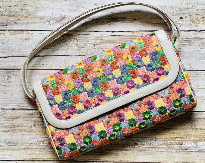 1950s Rainbow Flower Clutch by Coblentz for Saks Fifth Avenue Purse. Perfect Spring Bag with Colorful Embroidered Flowers.
