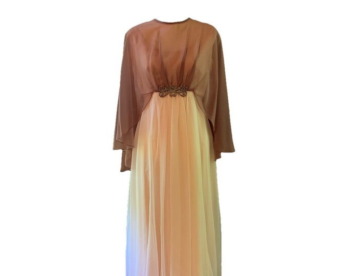Vintage 1960s Creamy Peach and Copper Chiffon Gown by Emma Domb. Vintage Wedding or Formal Event Dress