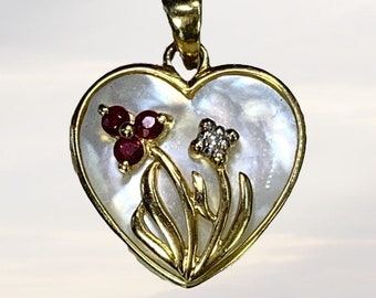 Heart Shaped Mother of Pearl Pendant with Diamond and Ruby Flowers set in 10k Yellow Gold. Graduation Gift. 1960s Sustainable Vintage.