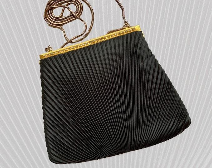 Vintage Little Black Handbag by La Regale. Black Micro Pleats with Rhinestone Kiss Closure. 1970s Sustainable Fashion Accessories.