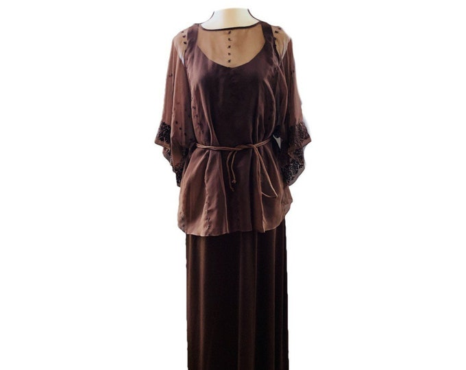 Vintage Bohemian Brown Maxi Dress and Sheer Top by Three Flaggs with Delicate Embroidery.