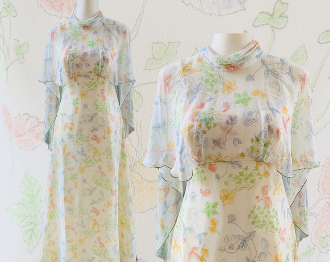 Vintage Chiffon Floral Dress with Capelet. Perfect Flowy Bohemian Wedding or Festival Dress. Sustainable Vintage Fashion.