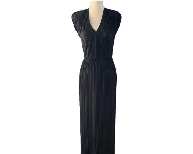 Vintage Black Maxi Dress by Three Flaggs with Elegant Full Mini Pleats.