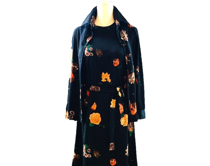 Vintage Black Floral Dress by Edith Flagg California. Dress with Matching Jacket in Orange and Peach Flowers.