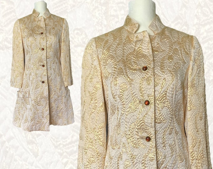 1960s Gold Metallic GoGo Dress Coat for Montaldo's. Statement Swing Jacket or Perfect Mod Party Dress.