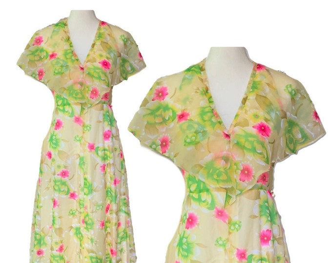 1960s Floral Chiffon Boho Dress with Capelet. Perfect for a Vintage Wedding or Festival Dress