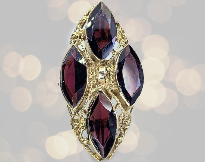 Garnet Cocktail Ring set in 14k Yellow Gold. Large Statement Ring or Unique Engagement Ring. January Birthstone. Estate Jewelry.