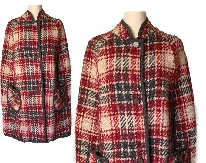Vintage Wool Poncho Cape in a Red and Gray Plaid. Stylish and Warm Sustainable Outerwear Coat Circa 1960.