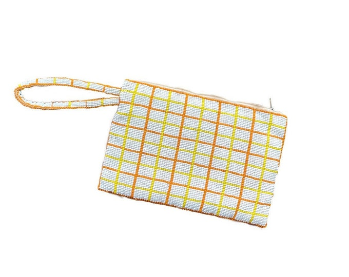 Vintage Mod Yellow Orange and White Checked Beaded Clutch for B Altman Co. 1960s Fashion Accessory. Sustainable Gift for Her.