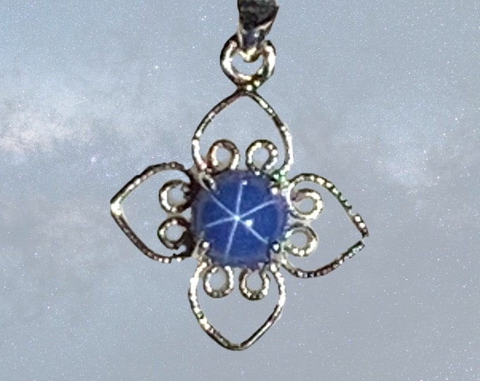 1970s Blue Star Sapphire Pendant in 10K White Gold. September Birthstone. 5th Anniversary Gift. Estate Jewelry