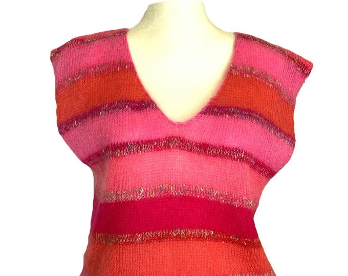 1980s Mohair Wool Sleeveless Sweater with Red Pink and Orange Striped Color Blocking. Sustainable Fall Fashion.