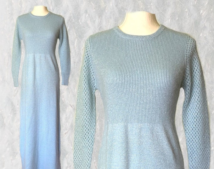 1970s Blue Sweater Dress by Saks Fifth Avenue. Wool, Mohair and Silver Metallic Mixed Knit in a Maxi Long Length. Sustainable Clothing.