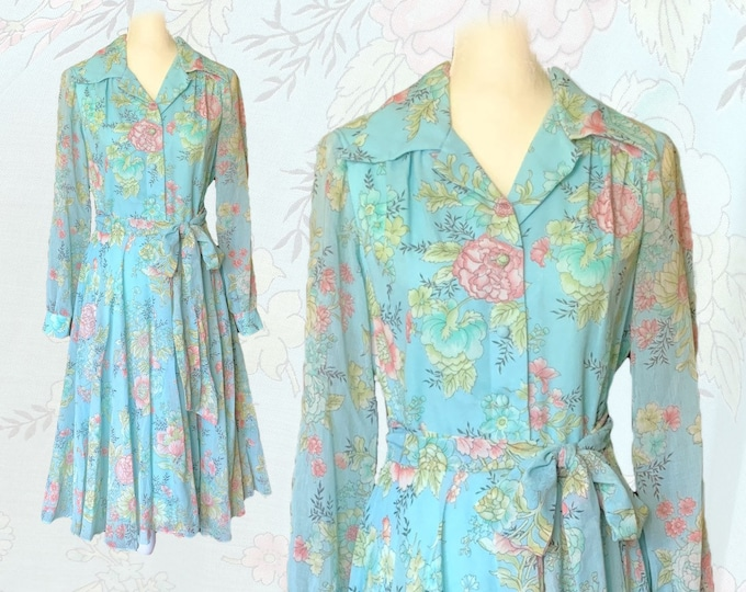Vintage Blue Floral Shirt Dress by Miss Elliette with a Blue Base and Pink Flowers. Midi Length Fit and Flare. 1960s Sustainable Vintage.