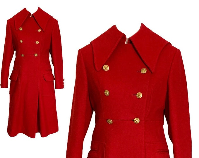 1960s Red Wool Coat by Preen. Warm Winter Coat with Military and Sailor Styling. Vintage Fashion Statement Clothing