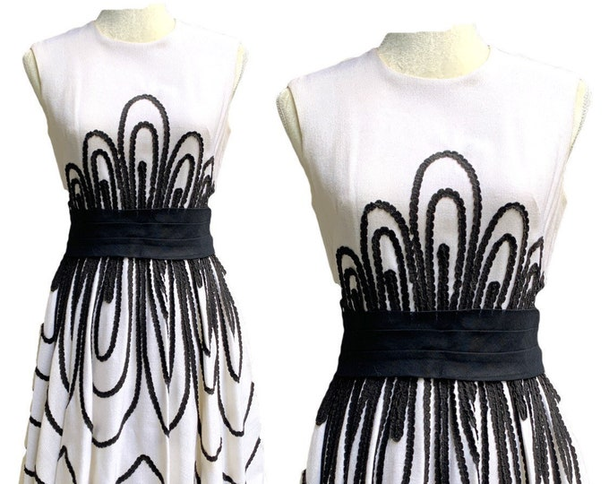 Vintage Black and White Linen Cocktail Dress by Miss Elliette with Ribbon Detail. Sustainable Spring or Summer Fashion Circa 1950s.