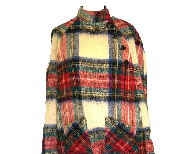 Vintage Mohair Wool Poncho or Jacket in Blue and Red Plaid by Glenrannoch of Scotland.