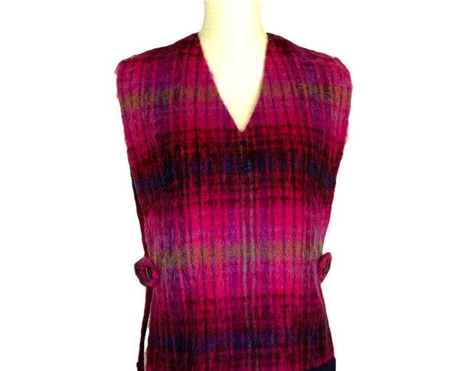 Vintage Pink Plaid Mohair Sweater Poncho Style Vest. Warm Wool Perfect for Fall and Winter Layering. Preppy Equestrian Chic!