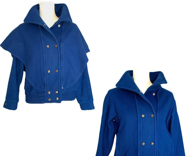 Vintage 1980s Blue Wool Bomber Jacket with Removable Capelet. Warm 2 in 1 Winter Coat. Vintage Fashion