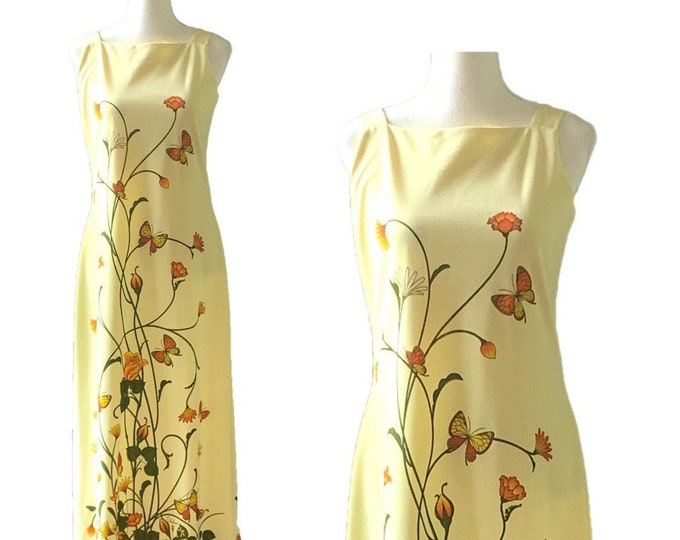 1950s Yellow Floral Maxi Dress with a Large Butterfly Flower Print by Shaheen. Perfect Summer Beach Wedding Dress!