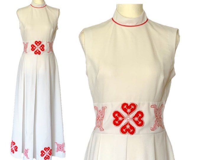 1960s White and Red Peasant Dress with Red Flower Appliques. Bohemian Lovers this one's for You!