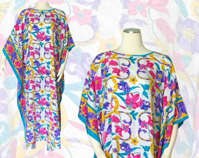 Vintage Floral Kaftan Scarf Dress in Bright Yellows Blues Pinks and Greens by Ruth Norman for Saks Fifth Avenue. Perfect Festival Dress.