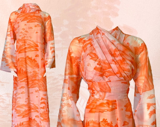 Vintage Chiffon Orange and Peach Dress with Asian Print. Long Flowy Scarf can be worn 4 Different Ways. Unique Sustainable Vintage Fashion.