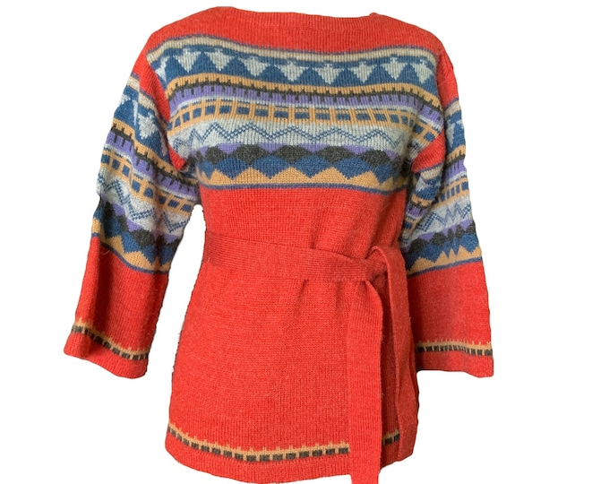 Vintage 1970s Southwestern Sweater by Western Fareast. Red Blue and Tan Aztec Design. Sustainable Fall Fashion.