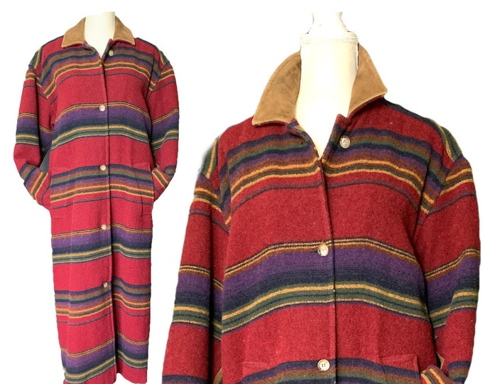 Vintage 1970s Southwestern Blanket Coat by Woolrich. Colorful Western Aztec Design Warm Outerwear. Sustainable Fall Fashion.