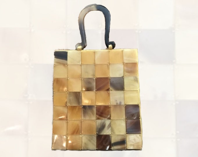 1970s Tortoiseshell Lucite Tile Purse. Sophisticated Handbag Perfect Year Round. Sustainable Vintage Fashion Accessory. Gift for Her.