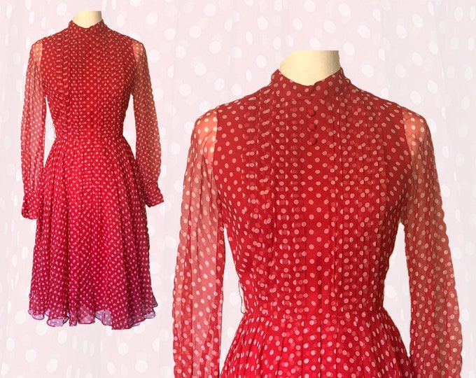 Vintage Red Polka Dot Chiffon Dress by Jack Bryan with Micro Pleating. Party Dress. Sustainable Fashion Circa 1950s. Spring Clothing.