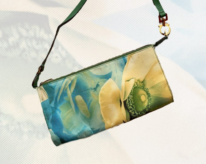 1990s Silk Scarf Clutch by Salvatore Ferragamo. Beautiful Blue, Green and Cream Floral Purse. Sustainable Vintage Fashion Accessory.