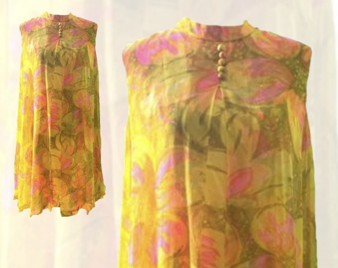 1960s Mod Chiffon GoGo Dress by Glenbrooke in a Yellow, Orange and Pink Floral Design. Sustainable Vintage Fashion.